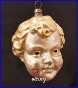 Rare Vintage German 1920's Baby Jesus Head Ornament 3.25
