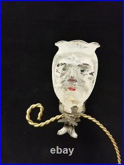 Rare Vintage German 1920's Santa Head Candle Holder on Clip Glass Ornament 3.5