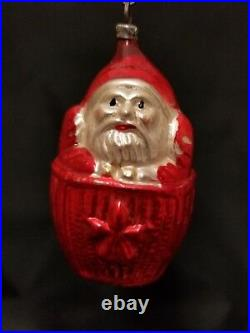 Rare Vintage German 1930's Santa in a Basket Glass Ornament 3