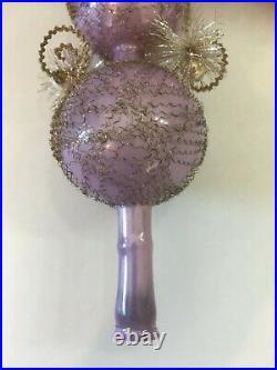 Rare Vintage German Christmas Tree Topper Mercury Purple Wire Wrapped Glass