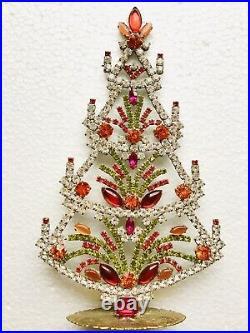 Rhinestone Xmas Tree Stand Czech Vintage Glass Jewellery Handmade Cabochones