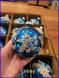 SHINY BRITE Vintage Mercury Glass Blue Merry Xmas Stencil Train Ornament Asst
