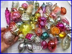 Set 52 Antique Vintage Silver Glass Ussr Christmas Xmas Ornaments Decorations