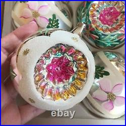 Set (6) large vintage glass traditional Christmas tree ornaments decorations