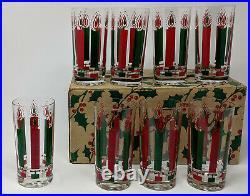 Set 8 Vtg. Mid-Century Modern McBETH CHRISTMAS CANDLE TUMBLERS Glasses, Orig Box