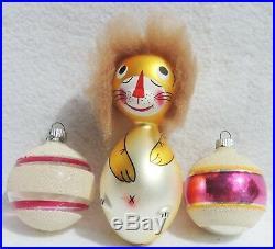 Set Vintage PINK Shiny Brite Italy LION Mica Mercury Glass Xmas Tree Ornaments