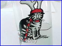 Set of 8 Vintage B. KLIBAN CAT WEARING ANTLERS CHRISTMAS Glasses Tumblers cups