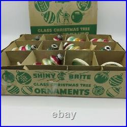 Shiny Brite 12 UFO Tornado Vintage Striped Glass Ornaments Christmas OG Box
