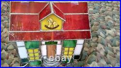 Tiffany-style Stained Glass Lighted Christmas Village Toy Shop House RARE VTG