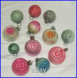 USA Bumpy Indent Antique Glass Christmas Ornament Lot Vintage Decoration 1950's