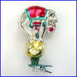 USSR Vintage Old Soviet Christmas Glass Ornament Decoration Elephant on Ball