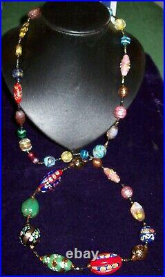 Unique Vintage Art Deco Murano -Venetian Glass Trade Bead Necklace-34, Christmas