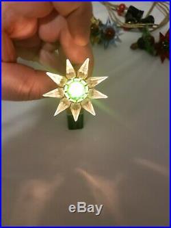 VINTAGE 1930s MATCHLESS WONDER STAR (8) CUT GLASS CHRISTMAS BULBS SERIES 100