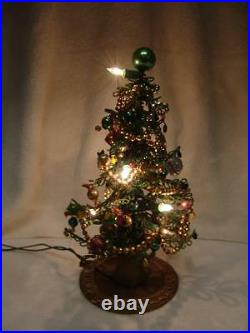 VINTAGE CHRISTMAS TREE 12 TALL, ALL BEADED WithMERCURY GLASS ORNAMENTS
