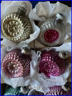 VINTAGE GROUP OF 12 SHINY BRITE BUMPY FLOWER DOUBLE INDENT GLASS ORNAMENTS WithBOX
