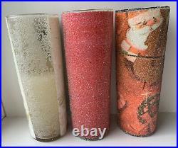 VINTAGE Sugar Frosted Candle LOT OF 4 Christmas Morning Santa Tall Boy RARE +Box