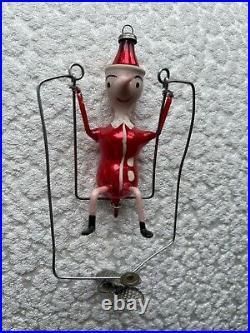 VIntage RARE Clip On Swinging DE CARLINI CHRISTMAS ORNAMENT MADE IN ITALY Santa