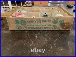 VTG 12 SHINY BRITE TORNADO TREE MERCURY GLASS & OTHER STENCILED ORNAMENTS WithBOX