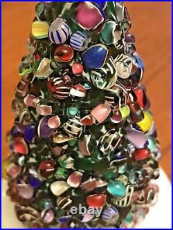VTG Cape Cod Glass Works  Millefiori Latticino Christmas Tree Paperweight 4H