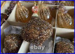 VTG FRONTGATE HOLIDAY COLLECTION BROWN & GOLD CHRISTMAS ORNAMENTS Set Of 24