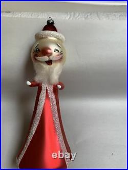 VTG Glass Italy Christmas Ornament De Carlini Santa LARGE 7 #5C