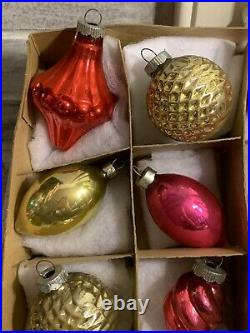 VTG Mercury Glass Christmas Ornaments Shiny Brite Premier RARE Lantern Bumpy MCM