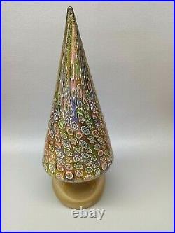 Vintage 10.75 Murano Millefiori Paperweight Gold Art Glass Christmas Tree Italy