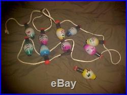 Vintage 10 Rare Japanese Glass Lantern Christmas Lights with Cord / String