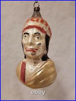 Vintage 1920's German Glass Ornament Indian Bust