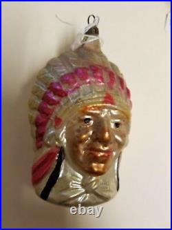Vintage 1920's German Glass Ornament Indian Chief with Headdress