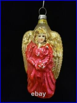 Vintage 1920's Scrap Faced Angel Glass Ornament