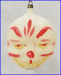 Vintage 1920's Smiling Clown Head Glass Ornament