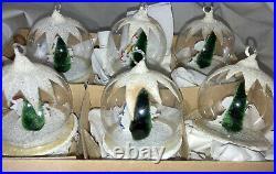 Vintage 1950s Diorama 3D Blown Glass Christmas Ornaments FAO Schwarz W. Germany