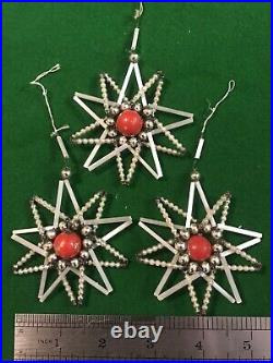 Vintage 1950s Glass Wire Tube Bead Christmas Tree Decorations Baubles Box Of 12