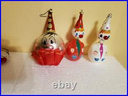 Vintage 1970s De Carlini Hand Blown Glass Christmas Ornaments Clowns Italy x3