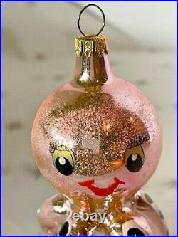 Vintage 1990's Christopher Radko Maxine Pink Octopus Italian Glass Ornament