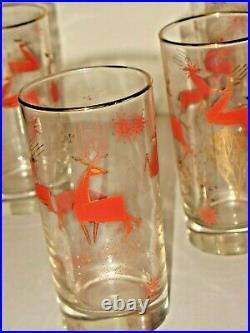 Vintage 6 Mid Century Libby Glass Christmas Raindeer Glasses Tumblers Atomic