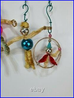 Vintage 60's Mercury Glass Bauble Pipe Cleaner Clowns Christmas Decorations x 7