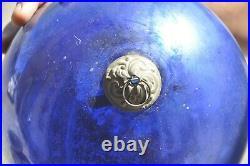 Vintage 7.25'' Blue Heavy Glass Original Kugel/Christmas Ornament, Germany