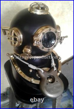 Vintage Antique Diving Helmet With Wooden Base US Reproduction Christmas gift