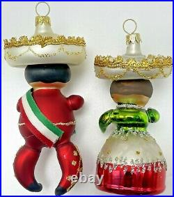 Vintage Blown Glass Mexican Woman Man Christmas Ornaments Italy De Carlini