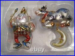 Vintage Blown Glass Ornaments Humpty Dumpty & The Cow Jumped Over The Moon