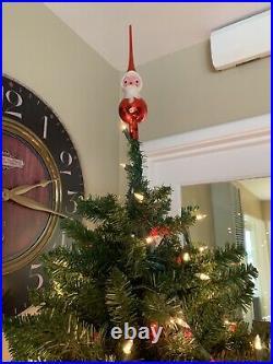 Vintage Blown Glass Santa Claus Tree Topper Finial Ornament Italy De Carlini