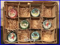Vintage Box 6 Japan Diorama Indent Scene Ornaments Santa Deer White Brush Trees