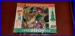 Vintage Boxed Poland Polish Indented Teardrop Mercury Glass Christmas Ornaments