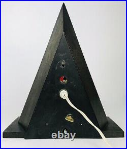 Vintage CHRISTMAS Tree Stained Glass Triangle Wood Table Lamp Music Box Silent