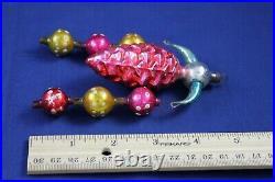 Vintage Christmas Fantasy Ornament Glass Pine Cone Arm Chandelier Polka Dot Ball