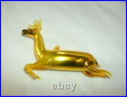 Vintage Christmas Gold Blown Mercury Glass Leaping Deer Ornament