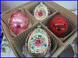 Vintage Christmas Jumbo Indent Snow Scene Stencil Glass Ornaments