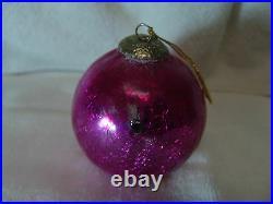 Vintage Christmas Kugel Large Ornament Pink Crackle Germany
